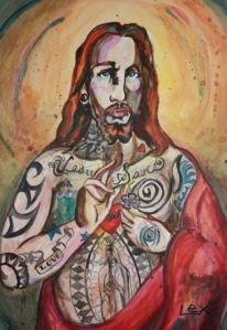 Image of a tattooed Jesus